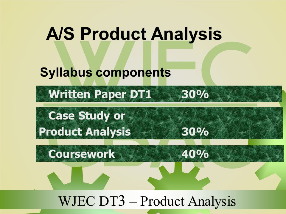 WJEC DT 3 – Product Analysis A/S Product Analysis Syllabus components Written Paper DT1 30% Case Study or Product Analysis 30% Coursework 40%