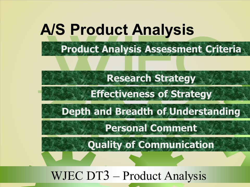 WJEC DT 3 – Product Analysis A/S Product Analysis Product Analysis Assessment Criteria Research Strategy Effectiveness of Strategy Depth and Breadth o