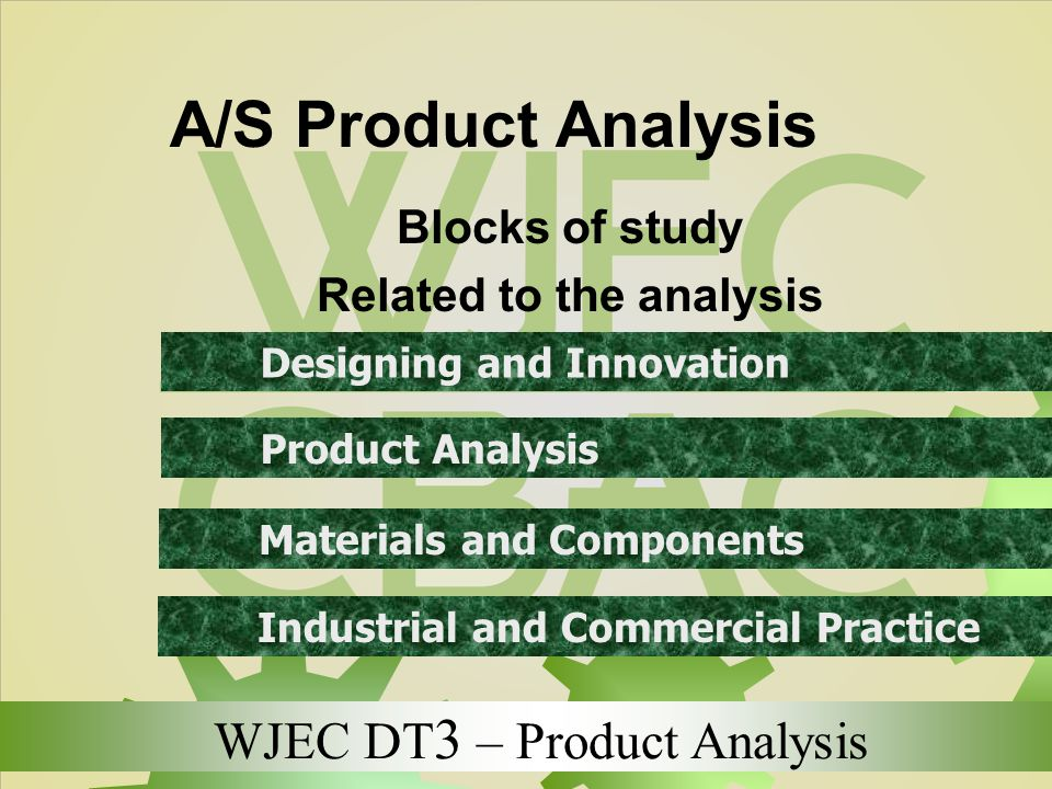 WJEC DT 3 – Product Analysis A/S Product Analysis Blocks of study Related to the analysis Designing and Innovation Product Analysis Materials and Comp