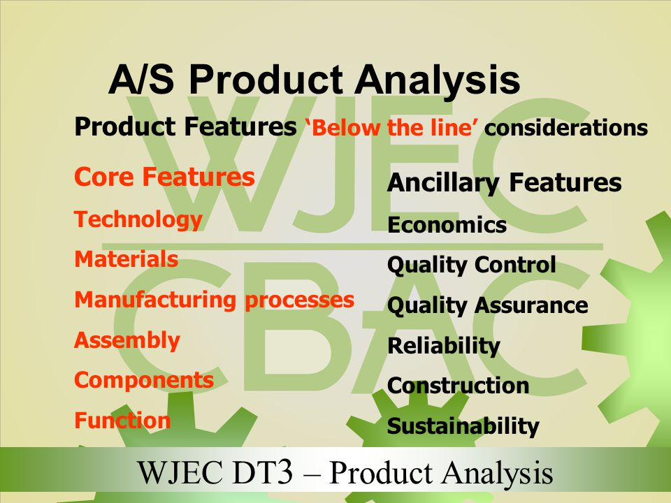 WJEC DT 3 – Product Analysis A/S Product Analysis Product Features 'Below the line' considerations Core Features Technology Materials Manufacturing pr