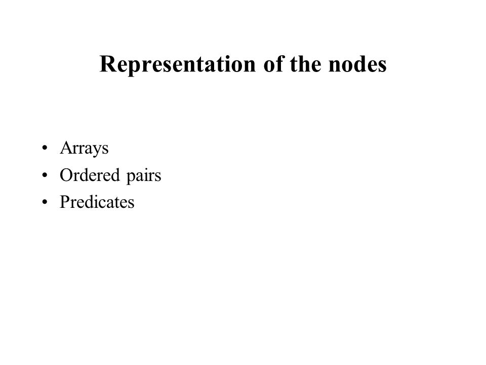 Representation of the nodes Arrays Ordered pairs Predicates