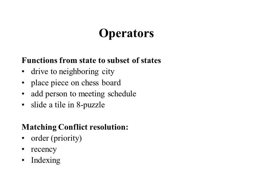 Operators Functions from state to subset of states drive to neighboring city place piece on chess board add person to meeting schedule slide a tile in 8-puzzle Matching Conflict resolution: order (priority) recency Indexing