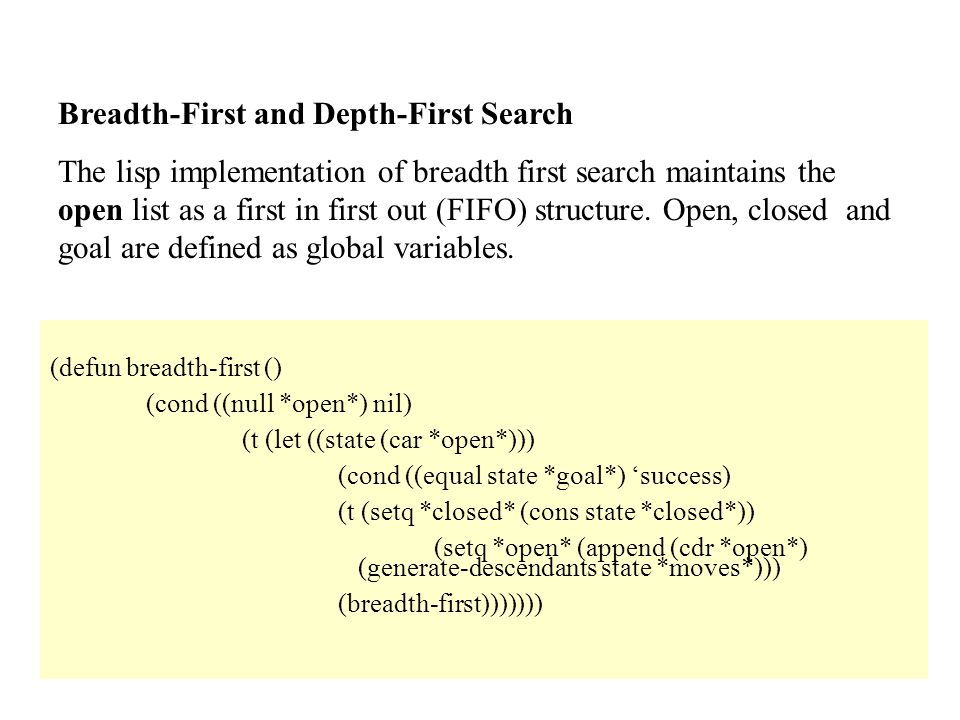 Breadth-First and Depth-First Search The lisp implementation of breadth first search maintains the open list as a first in first out (FIFO) structure.