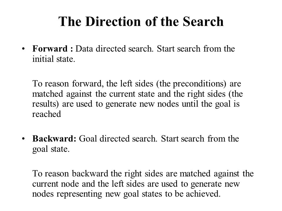 The Direction of the Search Forward : Data directed search. Start search from the initial state. To reason forward, the left sides (the preconditions)