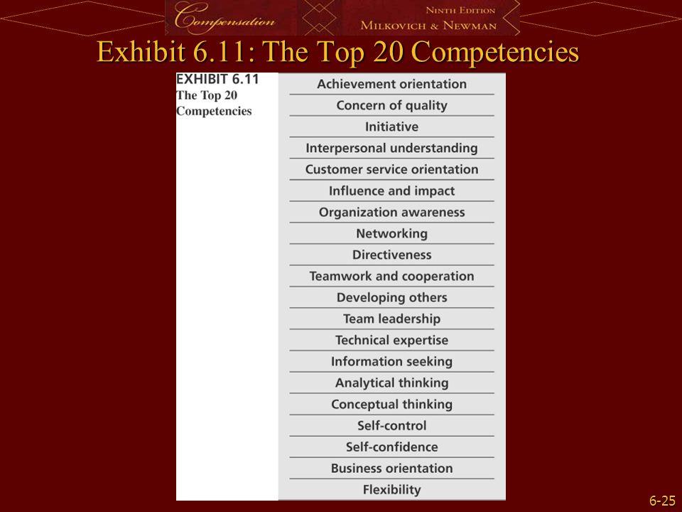 6-25 Exhibit 6.11: The Top 20 Competencies