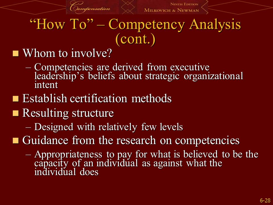 """6-28 """"How To"""" – Competency Analysis (cont.) Whom to involve? Whom to involve? –Competencies are derived from executive leadership's beliefs about stra"""