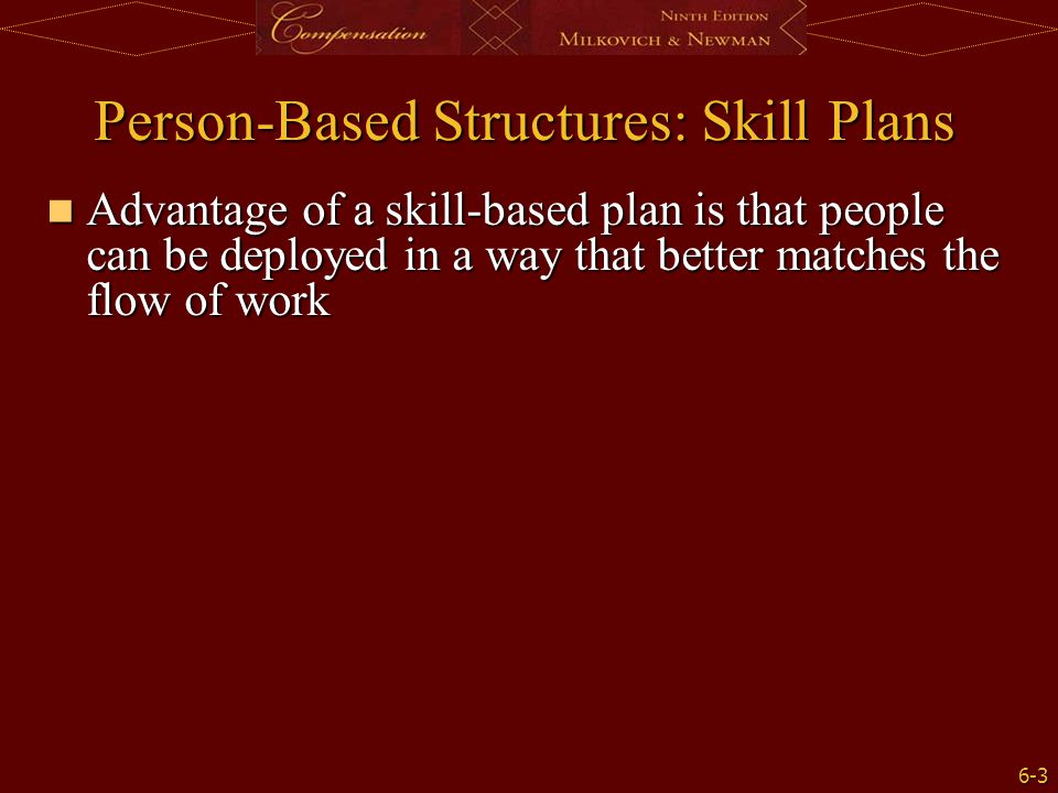 6-3 Person-Based Structures: Skill Plans Advantage of a skill-based plan is that people can be deployed in a way that better matches the flow of work