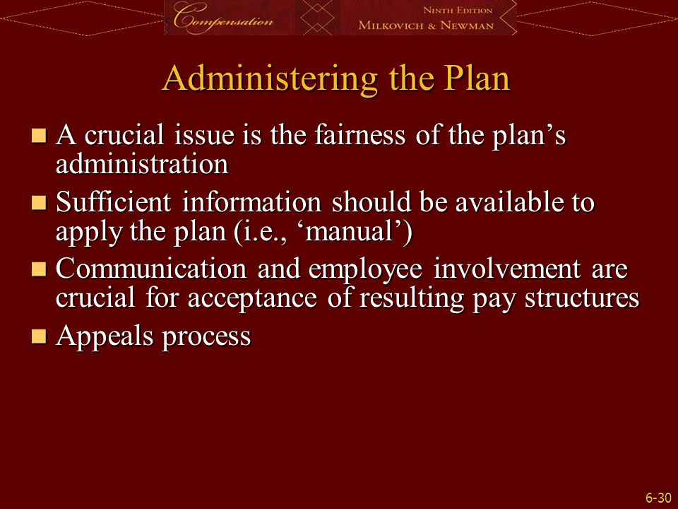 6-30 Administering the Plan A crucial issue is the fairness of the plan's administration A crucial issue is the fairness of the plan's administration