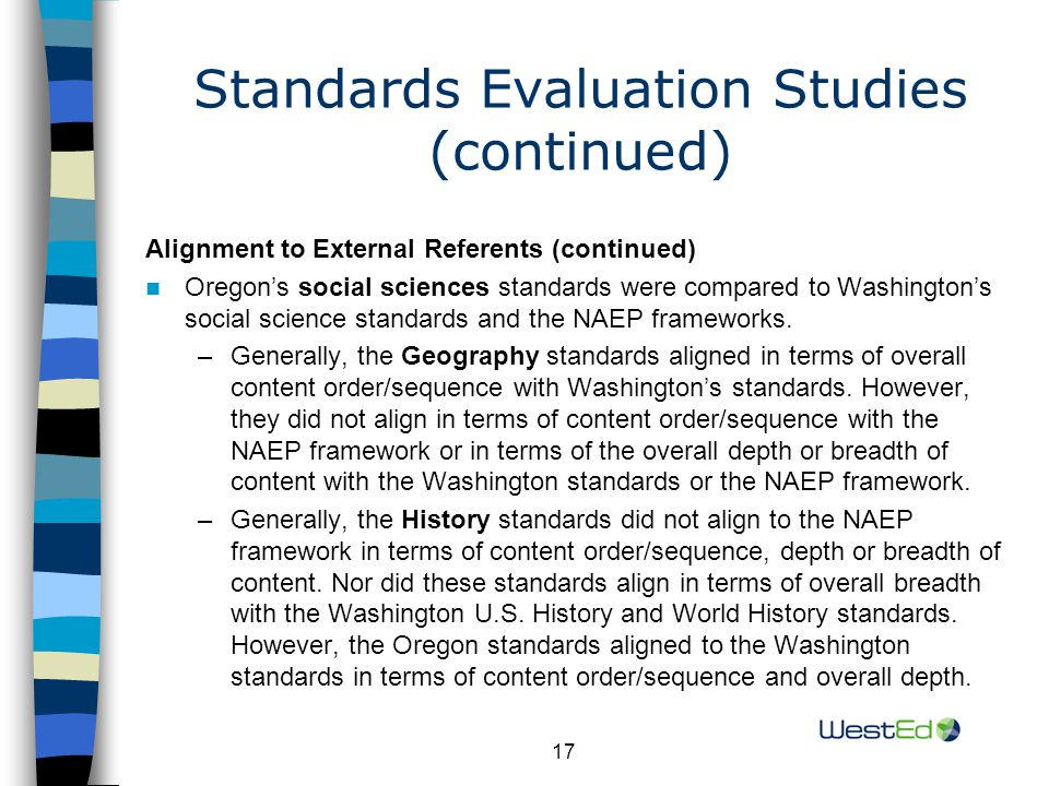 17 Standards Evaluation Studies (continued) Alignment to External Referents (continued) Oregon's social sciences standards were compared to Washington's social science standards and the NAEP frameworks.