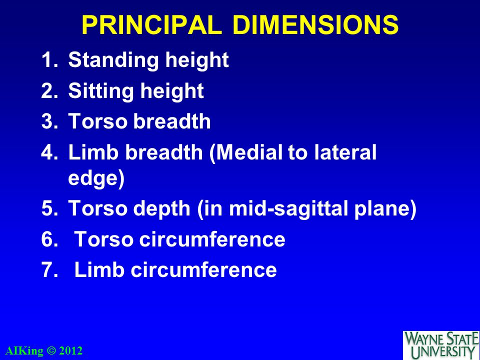AIKing  2012 PRINCIPAL DIMENSIONS 1.Standing height 2.Sitting height 3.Torso breadth 4.Limb breadth (Medial to lateral edge) 5.Torso depth (in mid-sagittal plane) 6.