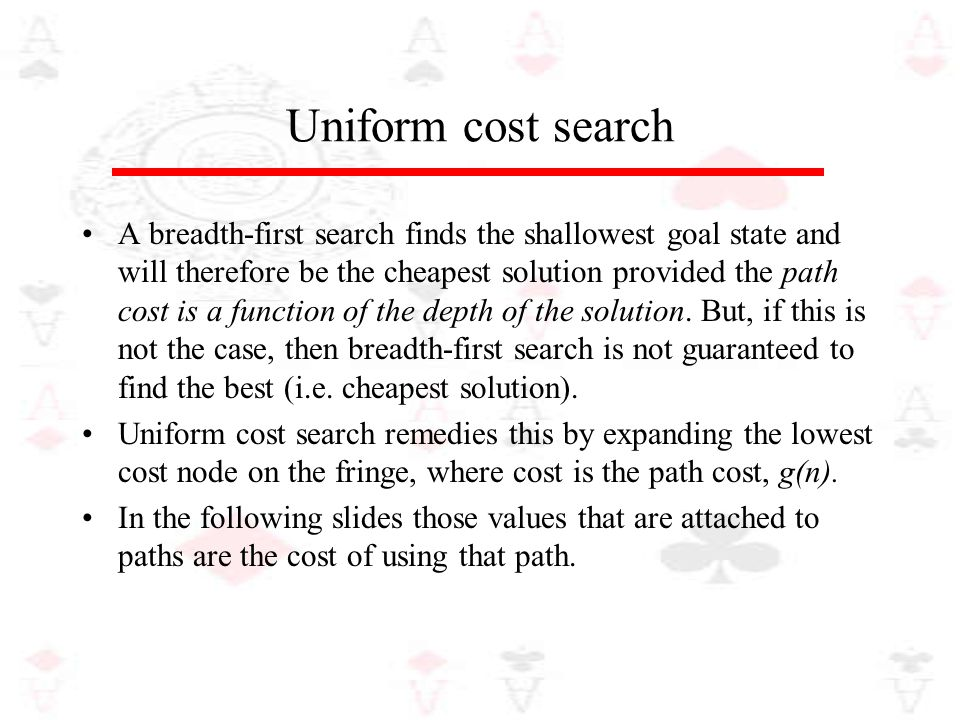 Uniform cost search A breadth-first search finds the shallowest goal state and will therefore be the cheapest solution provided the path cost is a fun