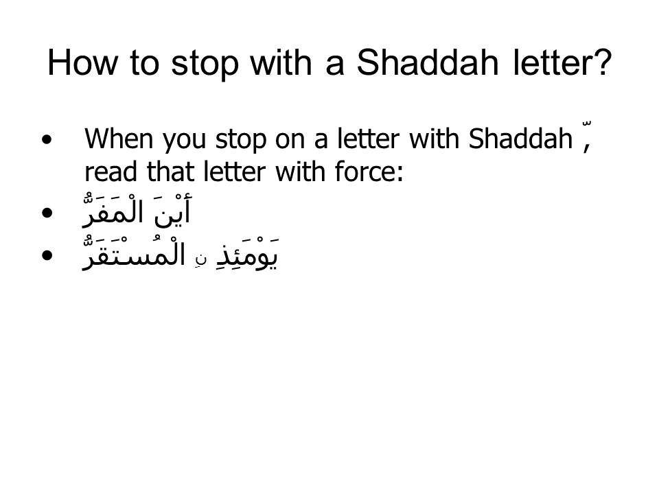How to stop with a Shaddah letter.