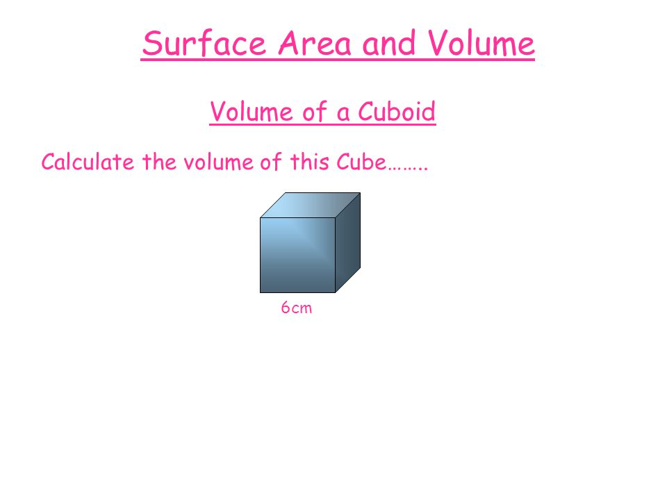 Surface Area and Volume Volume of a Cuboid Calculate the volume of this Cube…….. 6cm