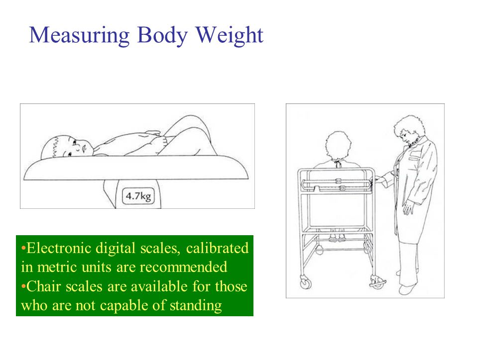 Measuring Body Weight Electronic digital scales, calibrated in metric units are recommended Chair scales are available for those who are not capable of standing