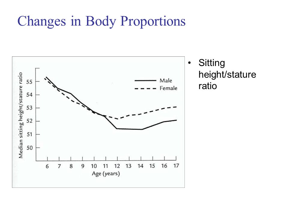 Changes in Body Proportions Sitting height/stature ratio