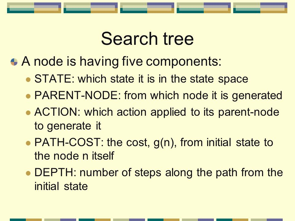 Search tree A node is having five components: STATE: which state it is in the state space PARENT-NODE: from which node it is generated ACTION: which action applied to its parent-node to generate it PATH-COST: the cost, g(n), from initial state to the node n itself DEPTH: number of steps along the path from the initial state