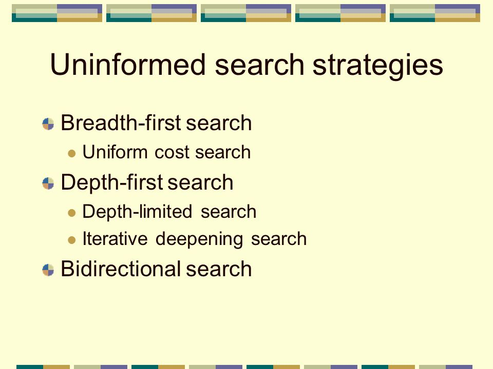 Uninformed search strategies Breadth-first search Uniform cost search Depth-first search Depth-limited search Iterative deepening search Bidirectional search