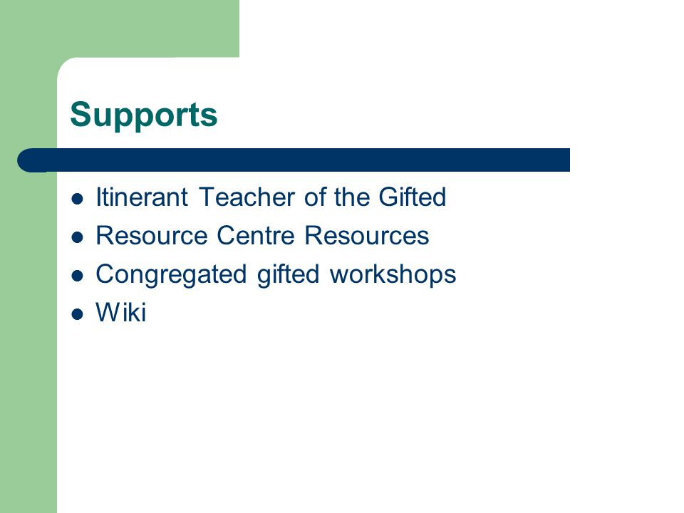 Supports Itinerant Teacher of the Gifted Resource Centre Resources Congregated gifted workshops Wiki