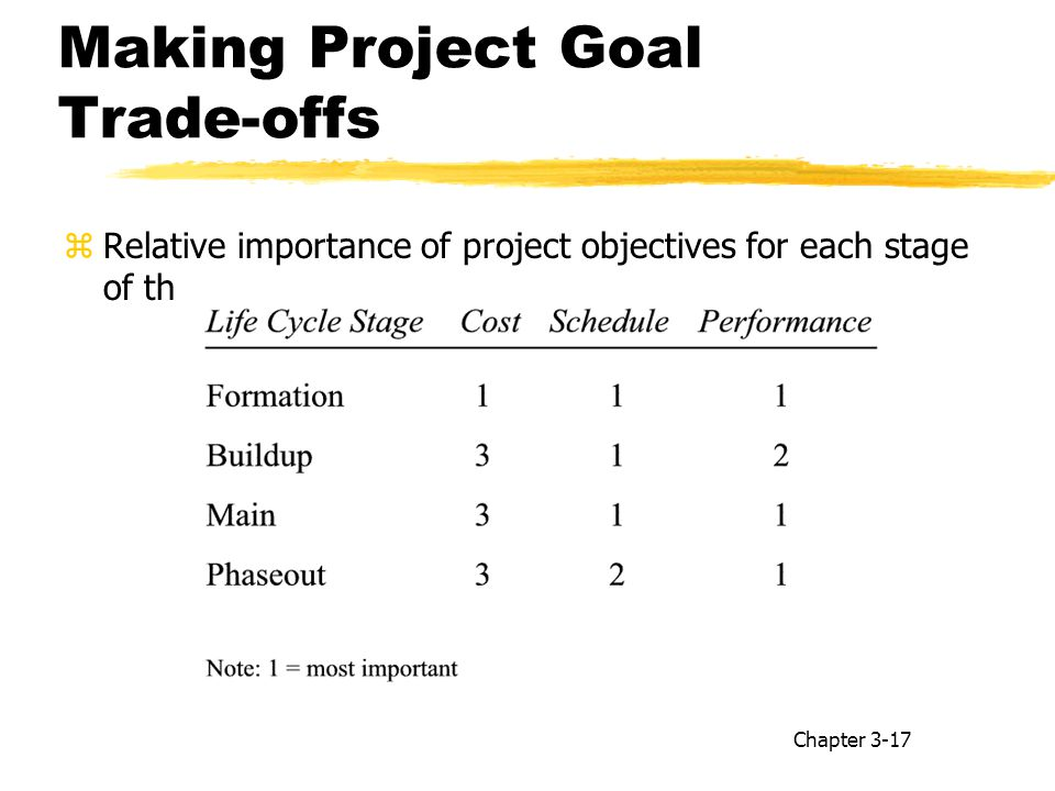 Making Project Goal Trade-offs zRelative importance of project objectives for each stage of the project life cycle: Chapter 3-17