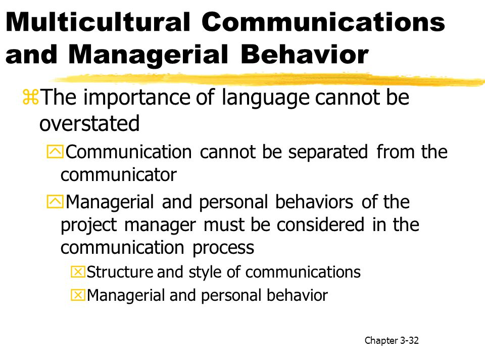 Multicultural Communications and Managerial Behavior zThe importance of language cannot be overstated yCommunication cannot be separated from the communicator yManagerial and personal behaviors of the project manager must be considered in the communication process xStructure and style of communications xManagerial and personal behavior Chapter 3-32
