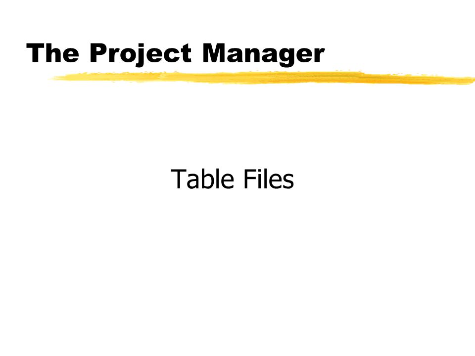 The Project Manager Table Files