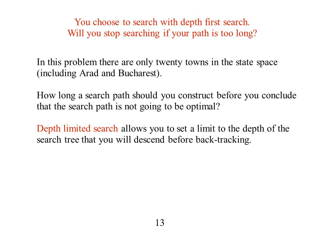 You choose to search with depth first search. Will you stop searching if your path is too long.