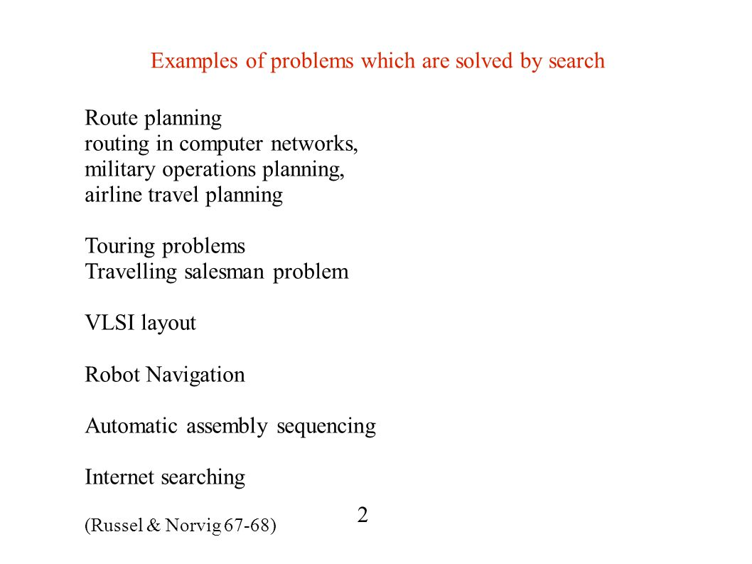 Examples of problems which are solved by search Route planning routing in computer networks, military operations planning, airline travel planning Touring problems Travelling salesman problem VLSI layout Robot Navigation Automatic assembly sequencing Internet searching (Russel & Norvig 67-68) 2