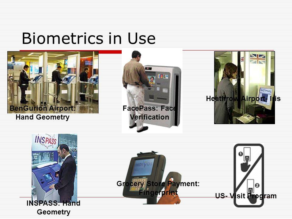 Biometrics in Use BenGurion Airport: Hand Geometry INSPASS: Hand Geometry FacePass: Face Verification Grocery Store Payment: Fingerprint US- Visit Pro