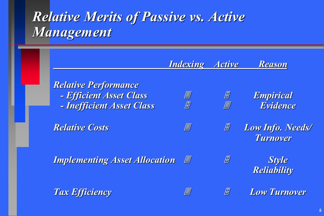 5 Relative Merits of Passive vs. Active Management IndexingActiveReason Relative Performance - Efficient Asset Class  Empirical - Inefficient As