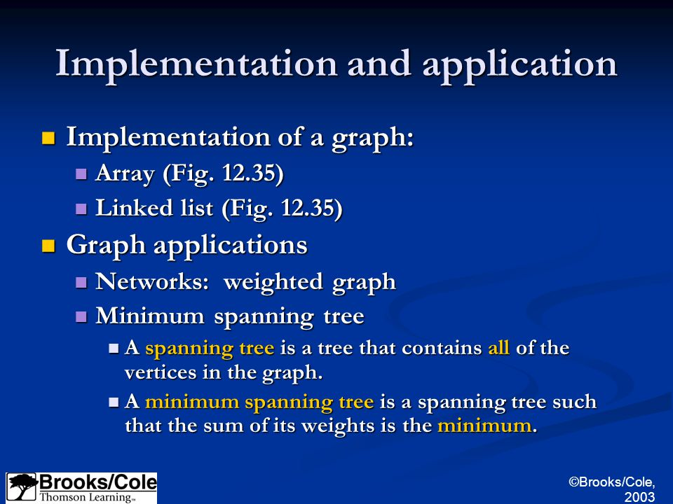 ©Brooks/Cole, 2003 Implementation and application Implementation of a graph: Implementation of a graph: Array (Fig.