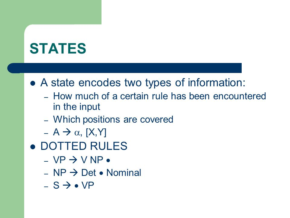 STATES A state encodes two types of information: – How much of a certain rule has been encountered in the input – Which positions are covered – A  ,
