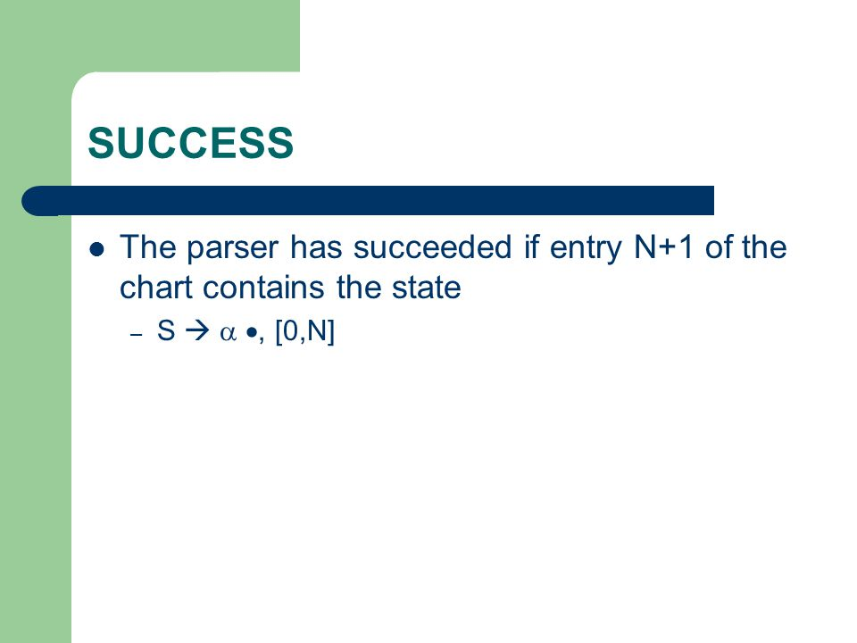 SUCCESS The parser has succeeded if entry N+1 of the chart contains the state – S   , [0,N]