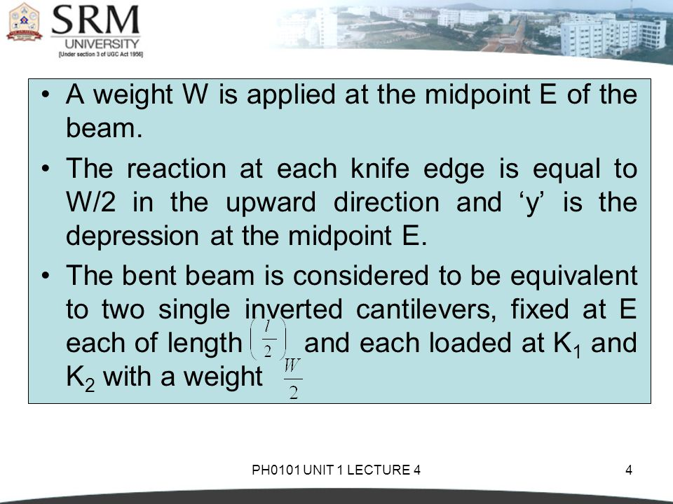PH0101 UNIT 1 LECTURE 44 A weight W is applied at the midpoint E of the beam. The reaction at each knife edge is equal to W/2 in the upward direction