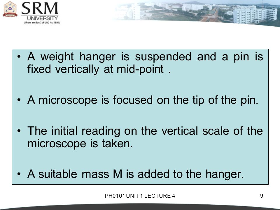 PH0101 UNIT 1 LECTURE 49 A weight hanger is suspended and a pin is fixed vertically at mid-point. A microscope is focused on the tip of the pin. The i