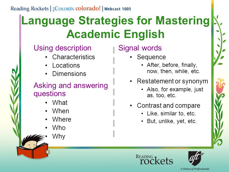 Language Strategies for Mastering Academic English Using description Characteristics Locations Dimensions Asking and answering questions What When Where Who Why Signal words Sequence After, before, finally, now, then, while, etc.