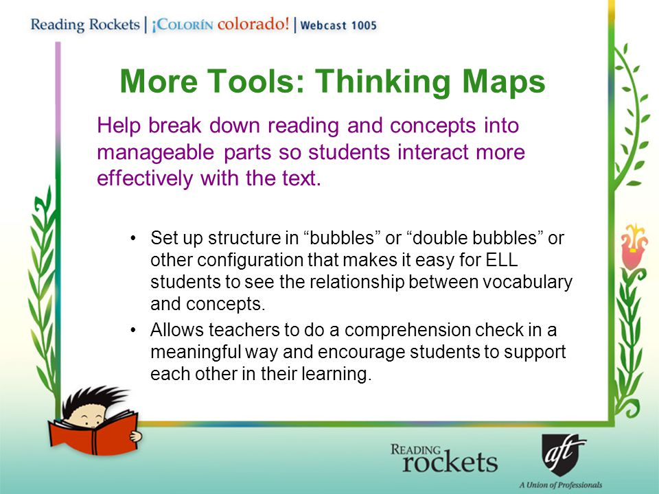 More Tools: Thinking Maps Help break down reading and concepts into manageable parts so students interact more effectively with the text.