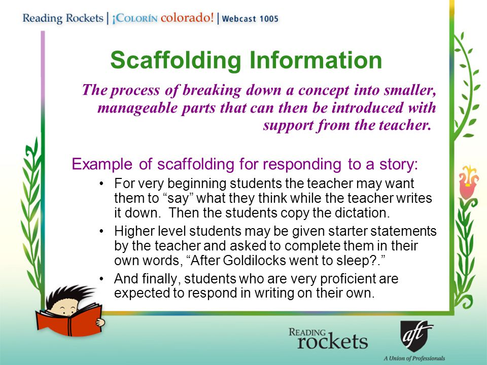 Scaffolding Information The process of breaking down a concept into smaller, manageable parts that can then be introduced with support from the teacher.