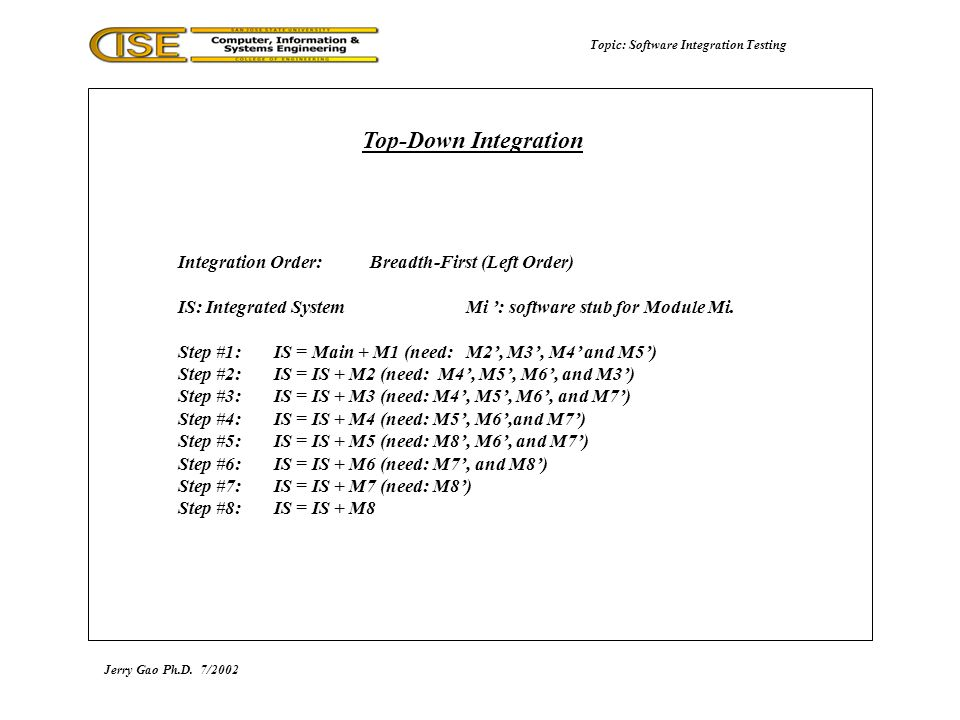 Topic: Software Integration Testing Jerry Gao Ph.D.7/2002 Top-Down Integration Integration Order:Breadth-First (Left Order) IS: Integrated SystemMi ': software stub for Module Mi.