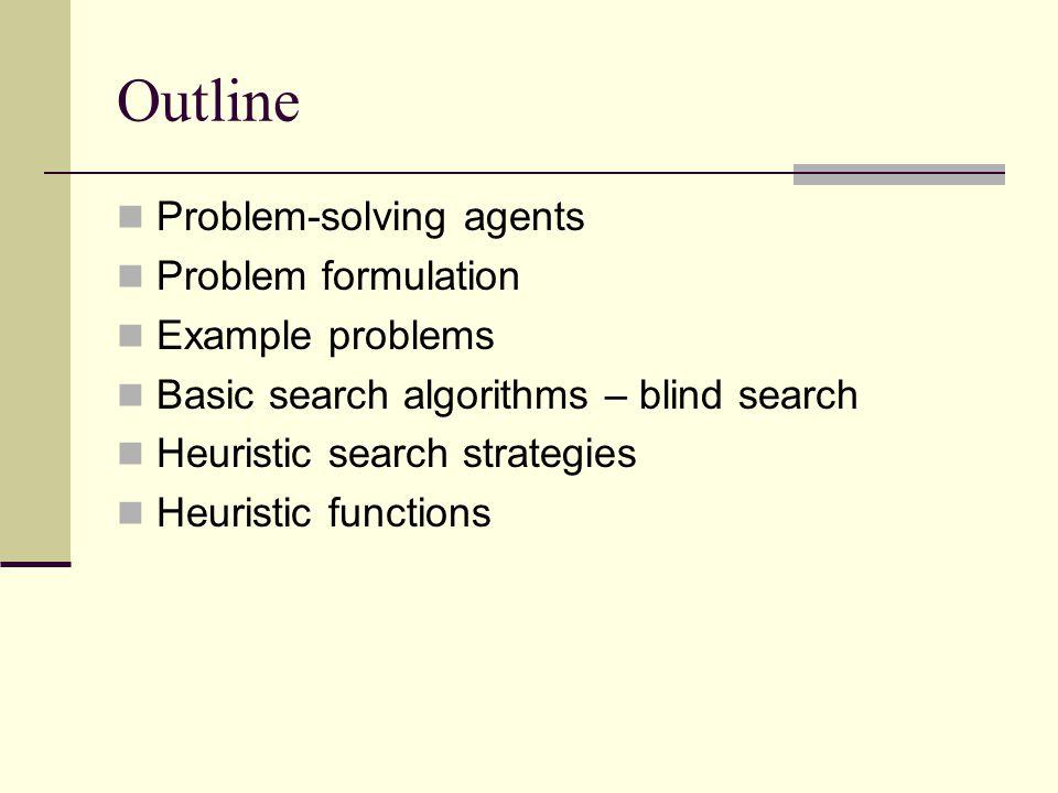 Outline Problem-solving agents Problem formulation Example problems Basic search algorithms – blind search Heuristic search strategies Heuristic functions