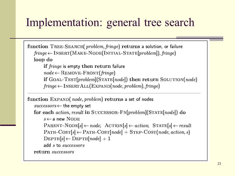 23 Implementation: general tree search