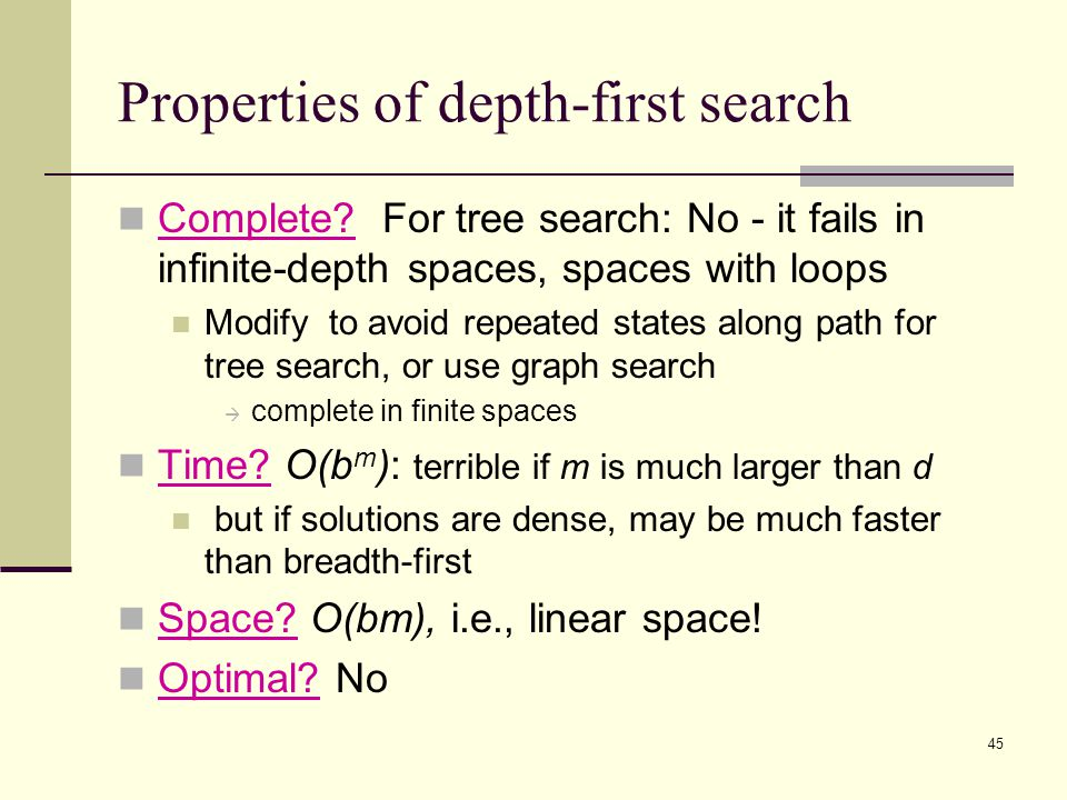 45 Properties of depth-first search Complete.