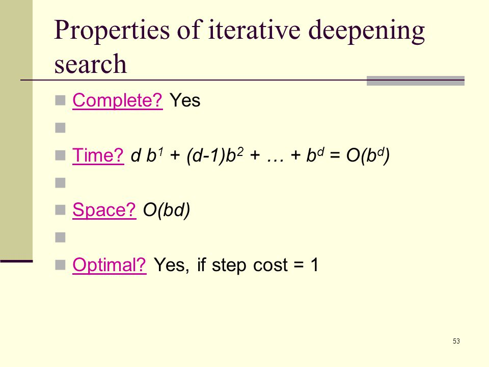 53 Properties of iterative deepening search Complete.