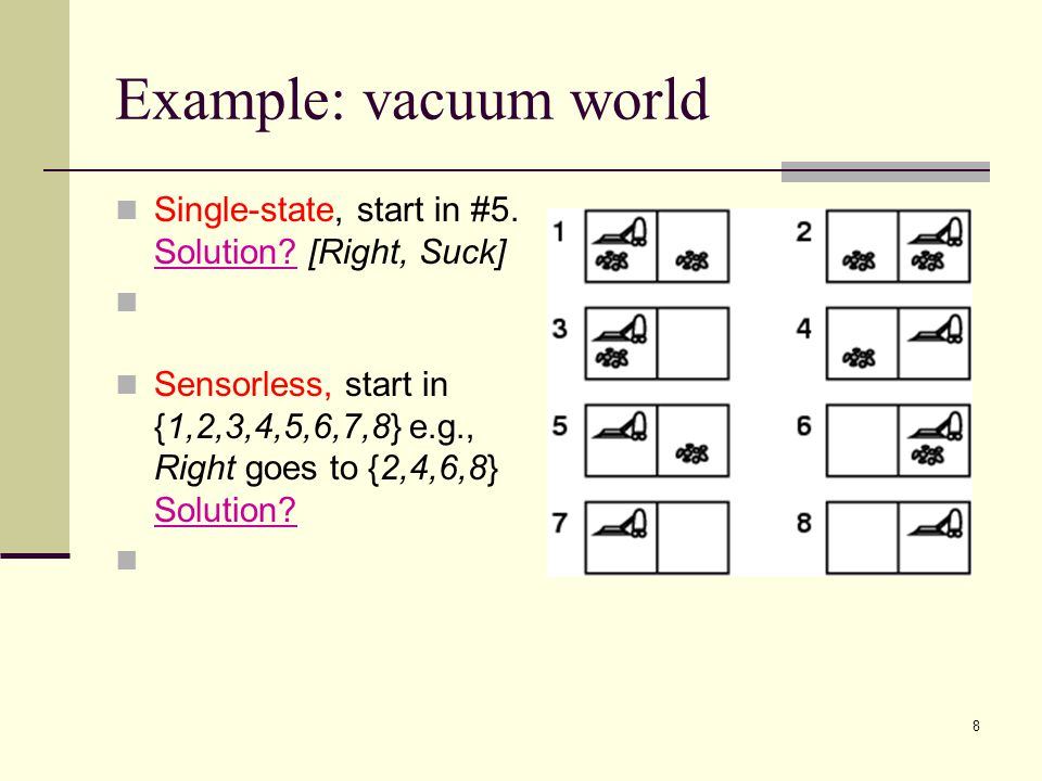 8 Example: vacuum world Single-state, start in #5.