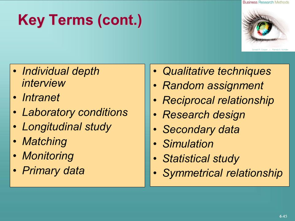 6-45 Key Terms (cont.) Individual depth interview Intranet Laboratory conditions Longitudinal study Matching Monitoring Primary data Qualitative techn