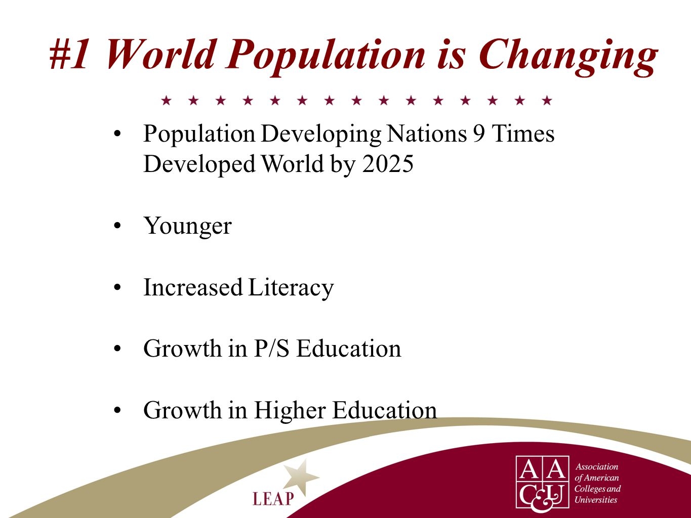 Population Developing Nations 9 Times Developed World by 2025 Younger Increased Literacy Growth in P/S Education Growth in Higher Education #1 World Population is Changing