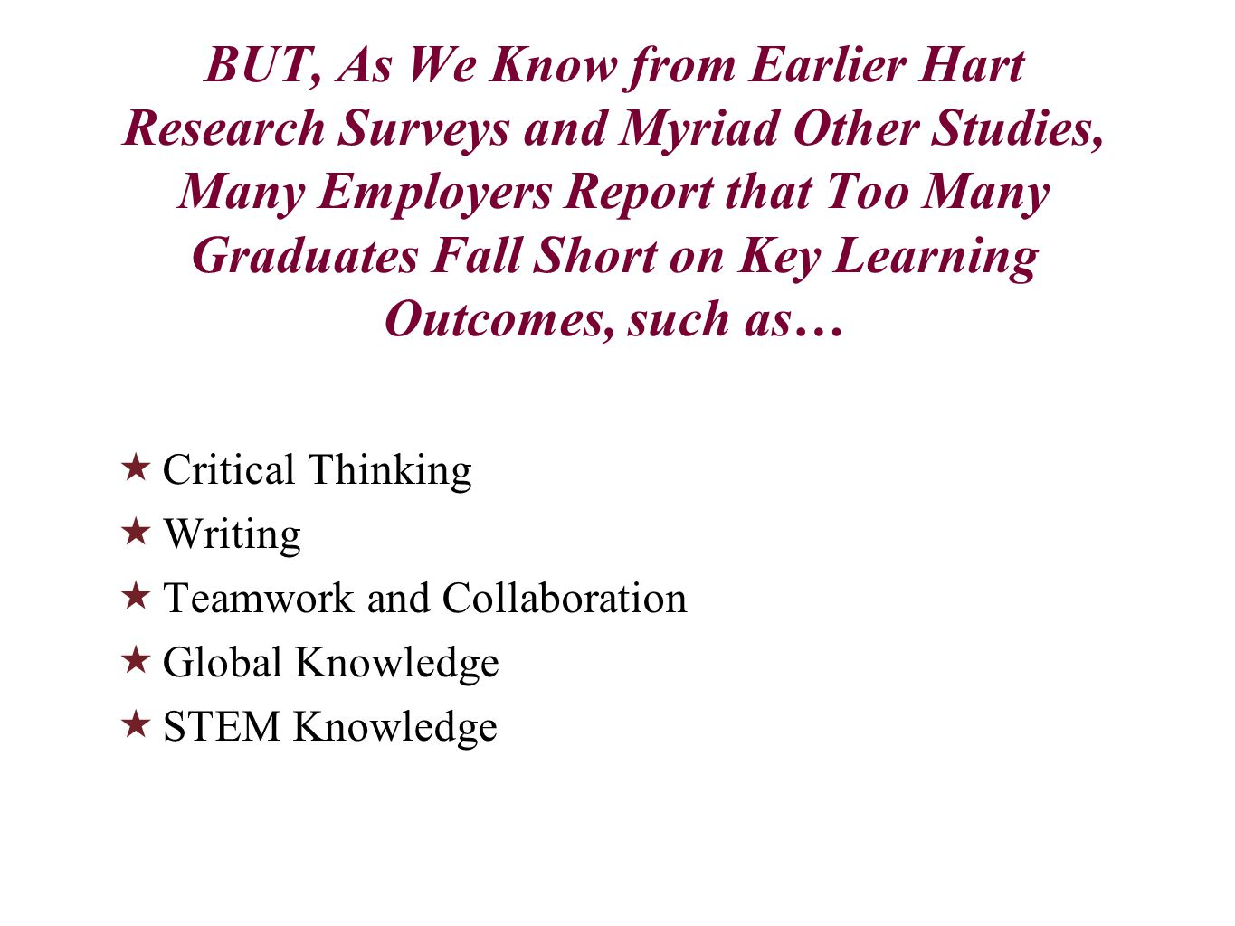 BUT, As We Know from Earlier Hart Research Surveys and Myriad Other Studies, Many Employers Report that Too Many Graduates Fall Short on Key Learning Outcomes, such as…  Critical Thinking  Writing  Teamwork and Collaboration  Global Knowledge  STEM Knowledge