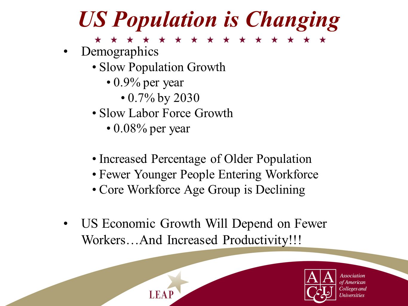 Demographics Slow Population Growth 0.9% per year 0.7% by 2030 Slow Labor Force Growth 0.08% per year Increased Percentage of Older Population Fewer Y