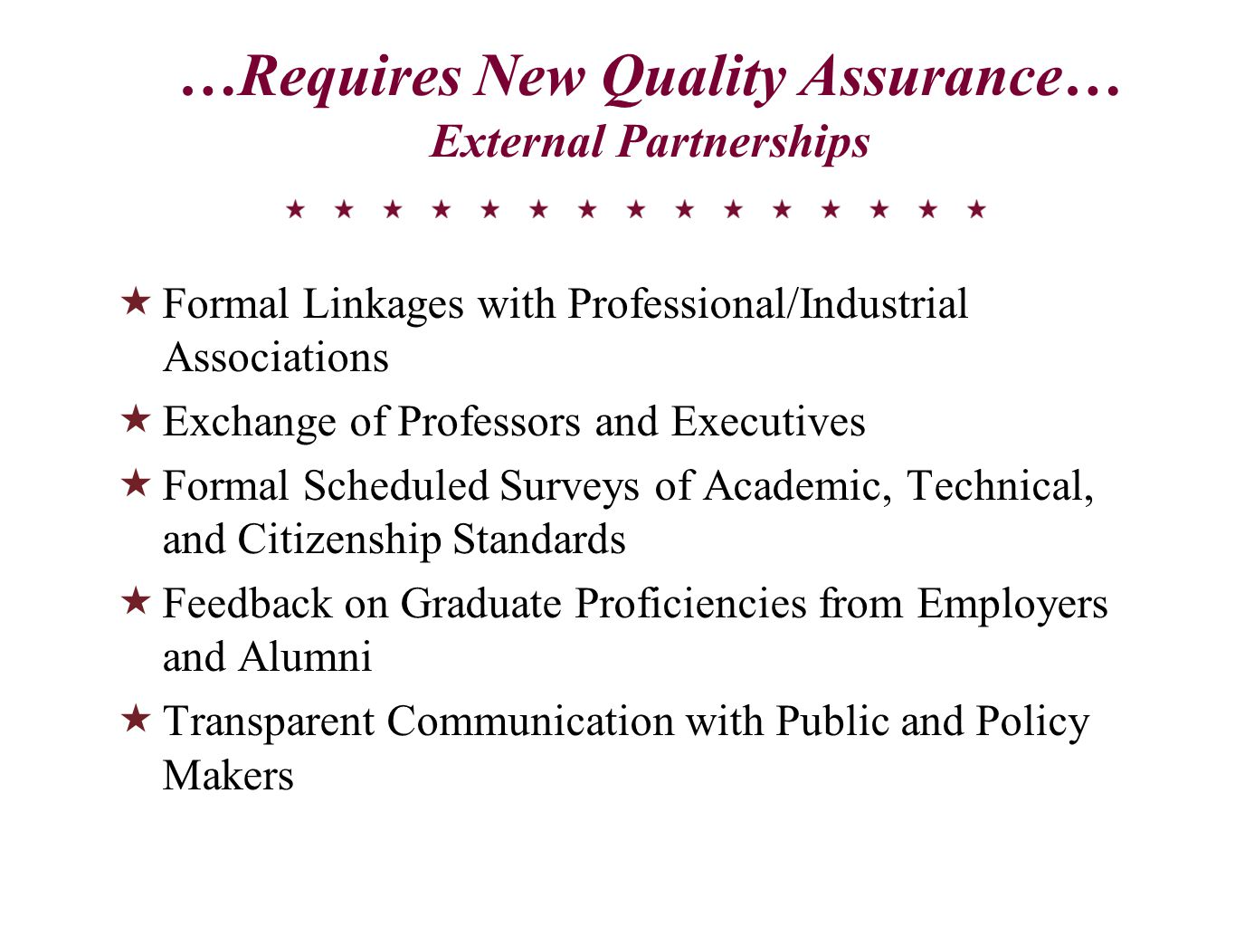…Requires New Quality Assurance… External Partnerships  Formal Linkages with Professional/Industrial Associations  Exchange of Professors and Executives  Formal Scheduled Surveys of Academic, Technical, and Citizenship Standards  Feedback on Graduate Proficiencies from Employers and Alumni  Transparent Communication with Public and Policy Makers