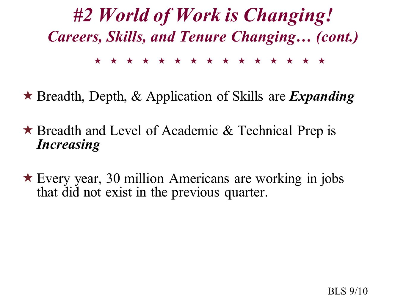 #2 World of Work is Changing! Careers, Skills, and Tenure Changing… (cont.)  Breadth, Depth, & Application of Skills are Expanding  Breadth and Leve