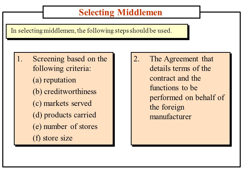 Selecting Middlemen 1.Screening based on the following criteria: (a) reputation (b) creditworthiness (c) markets served (d) products carried (e) number of stores (f) store size In selecting middlemen, the following steps should be used.